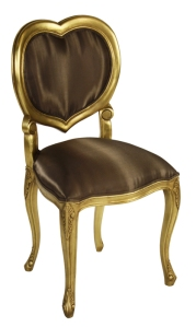 Heart Shaped Back Chair In Gold Leafing