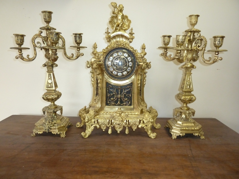 Antique-French-Bronze-Clock-and-Candle-Holder-Set-Completely-Restored-large