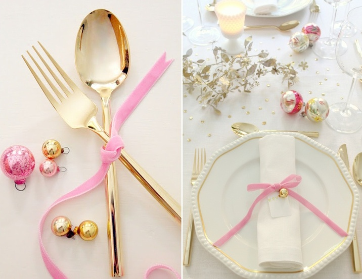Wonderful-35-Christmas-Table-Settings-With-white-golden-and-pink-table-setting-and-tableware-design