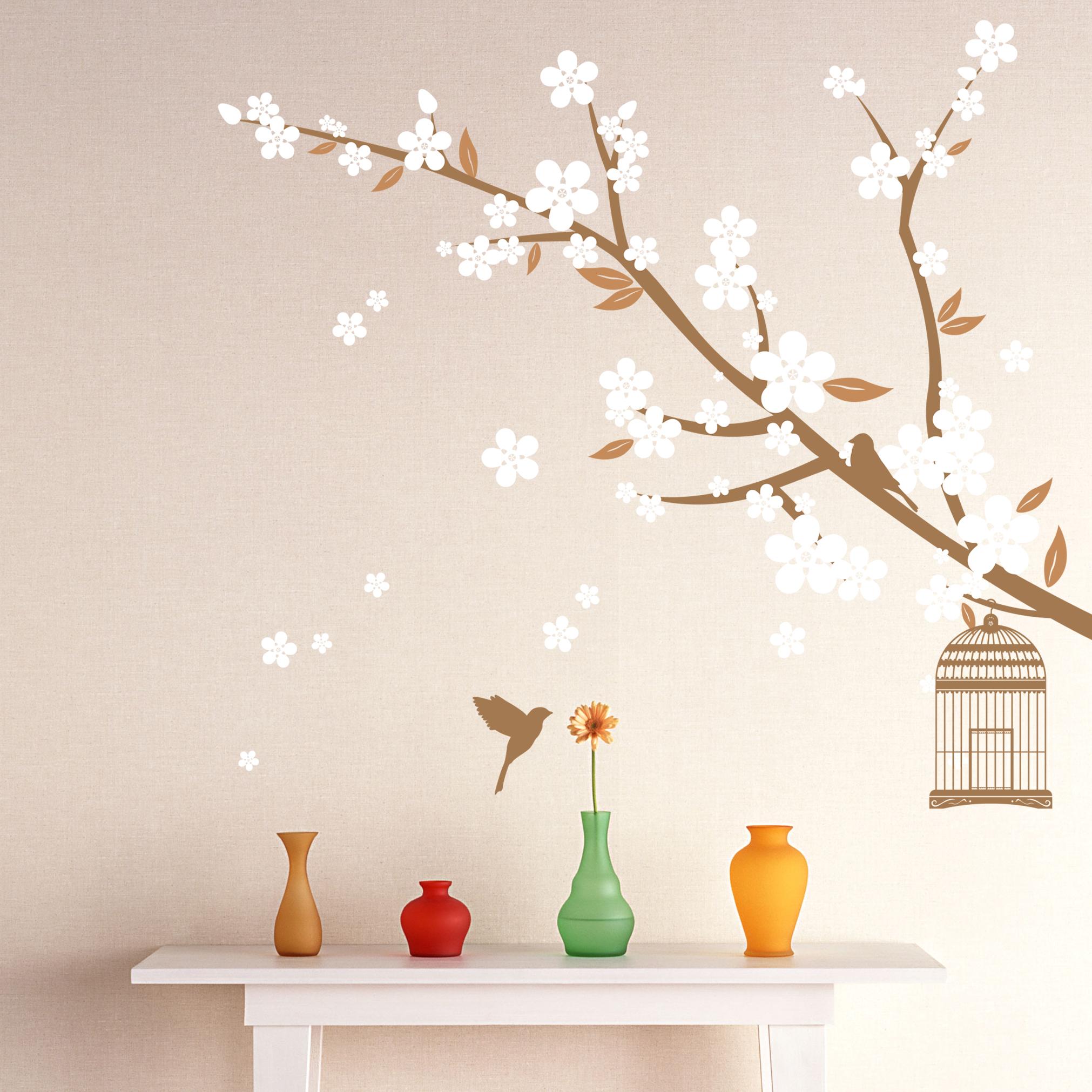 wall decals hiimaanimalhotra cherry blossom sandybrown caramel white