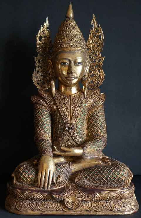 Burmese-mandalay-Teak-wood-Crowned-buddha-Statue-910
